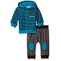 Calvin Klein Baby Stripes Hooded Pullover with Pants Set, Blue, 6/9 Months