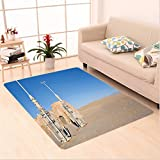 Nalahome Custom carpet n of Famous Town of Famous Movie Set on the Planet Fantasy Galaxy Wars Themed Pattern Brown Blue area rugs for Living Dining Room Bedroom Hallway Office Carpet (5' X 7')