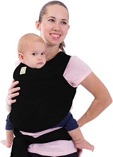 Baby Wrap Carrier by KeaBabies - All-in-1 Stretchy Baby Wraps - 3 Colors - Baby Sling - Infant Carrier - Hands-Free Babies Carrier Wraps | Great Baby Shower (Trendy Black)