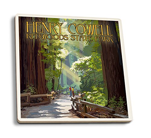Henry Cowell Redwoods State Park, California - Pathway in Trees (Set of 4 Ceramic Coasters - Cork-Backed, Absorbent) California State Poster Set