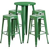 Flash Furniture 24'' Round Green Metal Indoor-Outdoor Bar Table Set with 4 Square Seat Backless Stools