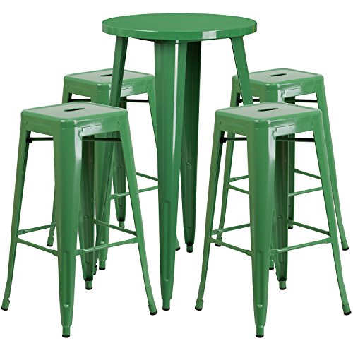 Round Green Metal Indoor-Outdoor Bar Table Set with 4 Square Seat Backless Stools (Bar Stool 24' Base)