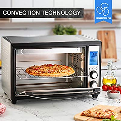 12 Inch Pizza 33 Liter Compact Convection Oven Baulia TO809 Digital Countertop Toaster Oven Stainless Steel Even Heat Technology 9 Pre-programmed One-Touch Functions 6-Slice 1600W TO089