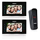 TMEZON (Wired)7-Inch Video Door Phone Doorbell With Intercom Kit System 1-Camera 2-Monitor and Night Vision Video Recording
