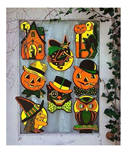 8 Retro HALLOWEEN Decorations Die Cut Cutouts Vintage Style BEISTLE Reproduction]()