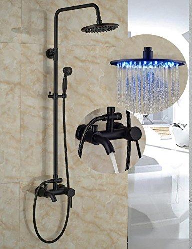 ze LED Light Round Rain Shower Head Wall Mount Shower taps Tub Shower Mixer Tap W/ Hand Shower Sprayer- 2 years guarantee ()