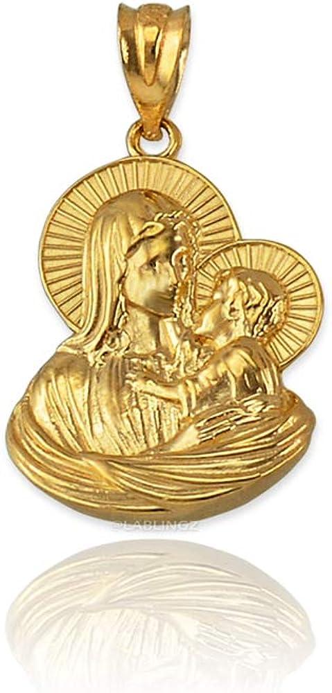 LA BLINGZ 14K Yellow Gold Virgin Mary Baby Jesus Charm Pendant S//L