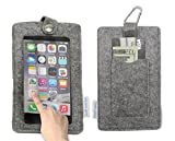 """Tainada 5.5"""" - 6"""" Multi-Purpose Smartphone Felt Sleeve Pouch Case with Clear View Window Touch Screen and Card Holder for iPhone 8 Plus, 7 Plus, Samsung Galaxy S8+, Note 8, Google Pixel XL (Gray)"""