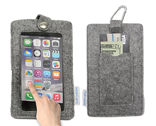 "Tainada 5.5"" - 6"" Multi-Purpose Smartphone Felt Sleeve Pouch Case with Clear View Window Touch Screen and Card Holder for iPhone 8 Plus, 7 Plus, Samsung Galaxy S8+, Note 8, ()"