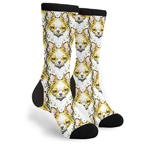 (Painting Long White Hair Chihuahua Youth Male Mens Boys Teen Kid Unisex Ankle Themed Clothing Gifts Party Clothes Dresses Quarter Dress Mid Calf Knee Crew Socks Calf Knit Hosiery)