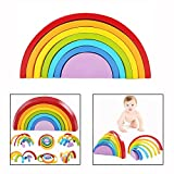 Cisixin 7 Colour Wooden Stacking Toy Rainbow Building Blocks Educational Puzzle Toy for Kids Children