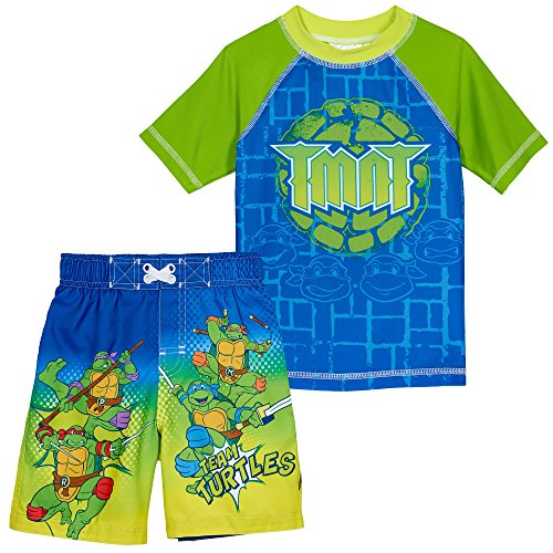 Superhero Little Boys' 2 Piece UPF 50 Rashguard Swim Trunk Set, TMNT, 2T