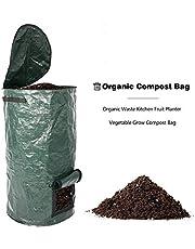 Mainstayae أكياس القمامة القابلة للتحلل، حقيبة نفايات الحديقة PE حقيبة البستنة قابلة لإعادة الاستخدام لتخزين الطعام لحمام السباحة أوراق ساحة أكياس قمامة