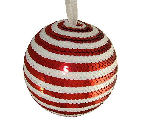Allstate Peppermint Twist Red and White Candy Cane Stripe Sequin Christmas Ball Ornament, 5