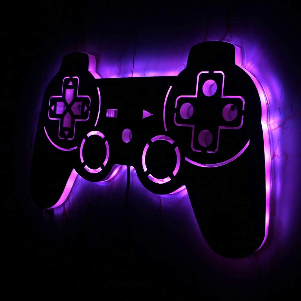 Geek Alerts Remote Control Video Gamepad Controller 7 Color Changing Mirror with LED Backlight, Gamers Luminous Wall Sign Wall Lamp, Cool Game Room Interior Decoration