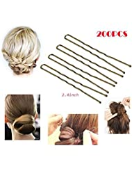 200Pcs,Professional Golden Bobby Pins U Shape Hair Pins for Women Girls and Hairdressing Salon Doubtless Bay (2.4 Inches)
