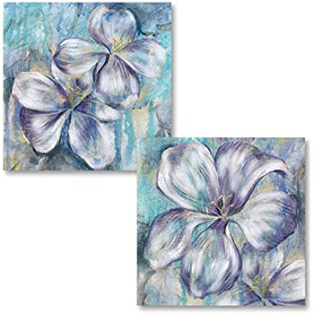 Gango Home Décor Beautiful Purple and Teal Blooming Floral Print Set; Two 12x12in Unframed Poster Prints