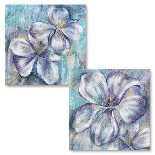 Gango Home Décor Beautiful Purple and Teal Blooming