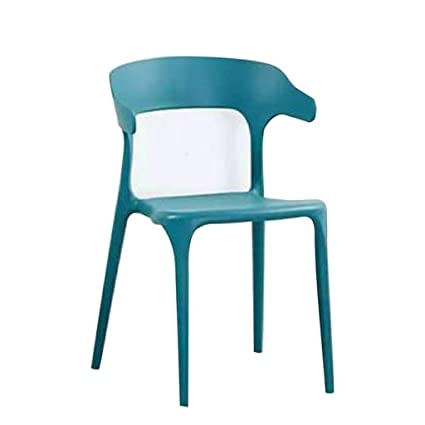 7a72ef1b0313d ... Minimalist Plastic Chair Nordic Dining Chair Chair Home Creative Dining  Table Chairs Casual Horn Chair Coffee Shop (Color : Blue): Garden & Outdoor