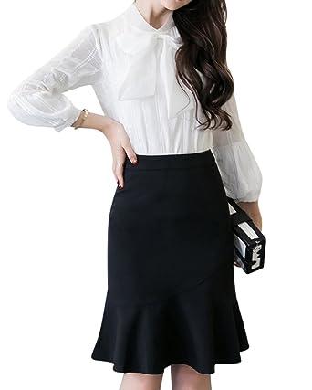 Femmes Élastique Moulant Volants Ourlet Taille Haute Jupe Crayon Mi Longue  Grande Taille Noir 5XL b1178b9410ab