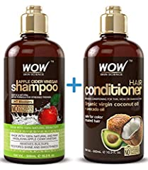 WOW Apple Cider Vinegar Shampoo and WOW Coconut Avocado Oil Conditioner Set - The Perfect Duo For Your Hair. Our premium shampoo and conditioner set is infused with botanicals to clarify and rebuild contains no sulfates, parabens, or silicone...