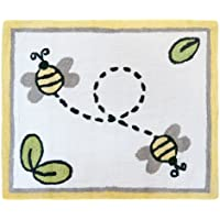 Sweet Jojo Designs Yellow, Gray and White Accent Floor Rug for Honey Bumble Bee Baby Bedding Collection