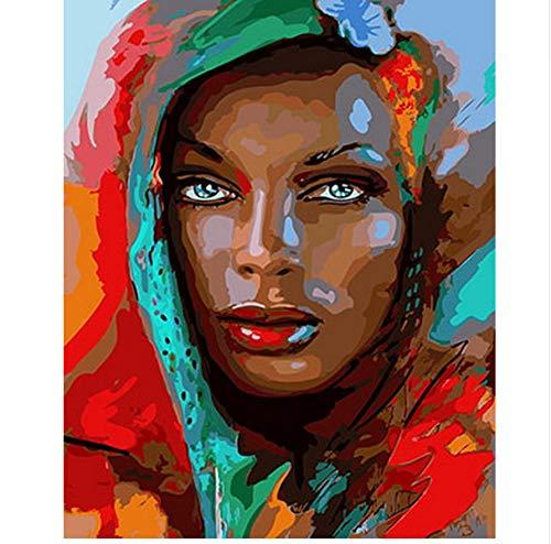 XIGZI Ölgemälde durch Zahlen Dekoration wandmalerei DIY auf leinwand für hauptdekoration Dame mit grünen schal 40x50 cm,Mit Holzrahmen,G B07NVPYD3R   Mittel Preis