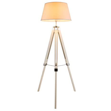 Elegante lámpara de pie tipo trípode con pantalla de textil ...