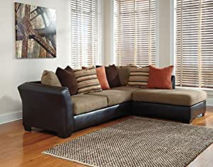 Ashley Armant 20202-17-66 Sectional Sofa with Right Arm Corner Chaise Left Arm Sofa and Eight Pillows Included in