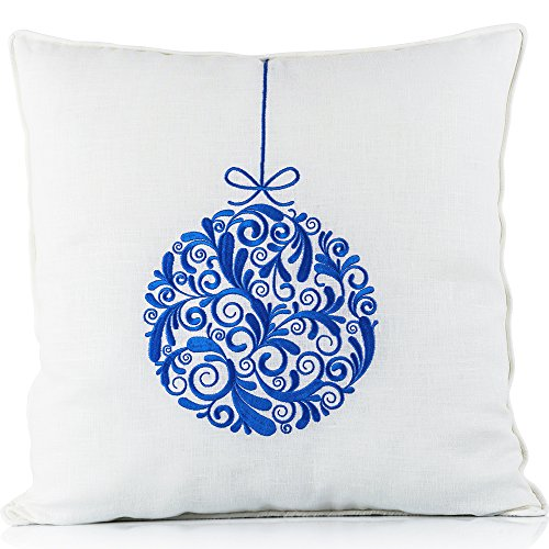 primepik CLEARANCE SALE Christmas Throw Pillow Case Cushion Cover Blue Embroidered Decoration on White Linen 18 x 18 Inch (Christmas Throw Pillows Sale)
