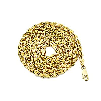 LOVEBLING 10K Yellow Gold 4mm Solid Diamond Cut Rope Chain Necklace with Lobster Lock from LOVEBLING