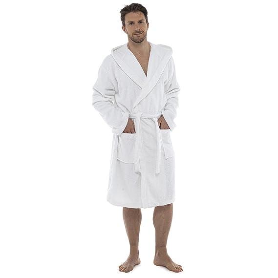 Undercover Hombres Lujo 100% Esponja algodón Albornoz Vestido de cámara enveloppant Pijama HT566 Blanc Avec