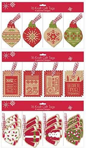 UPC 653341506436, Pack of 48 Christmas Gift Tags - 12 Different Designs Xmas Gifting Tags