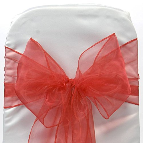 (mds Pack of 100 Organza Chair Sashes Bow Sash for Wedding and Events Supplies Party Decoration Chair Cover sash -Red)