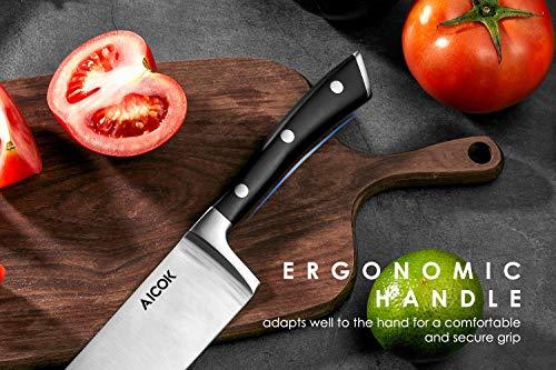 Cuchillos de Cocinero Profesional 210 mm, Cuchillo de chef, Pelador 130 mm, Cuchillos Profesionales por Aicok