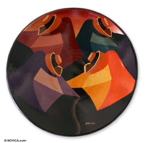 NOVICA Cuzco Ceramic Decorative Bowl, Multicolor 'Four - Cuzco Ceramic