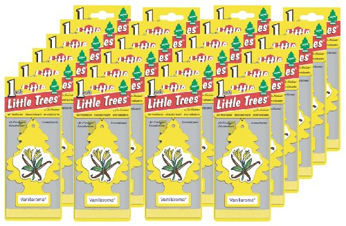 LITTLE TREES Car Air Freshener | Hanging Paper Tree for Home or Car | Vanillaroma | 24 Pack