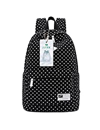 S-ZONE Polka Dots Canvas 14-inch Laptop School Backpack (Black)