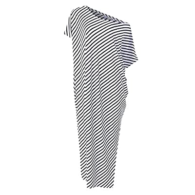 Kidsform Women Maxi Dress Striped Long Dresses Casual Loose Kaftan Oversized Round Neck Sundress at Women's Clothing store