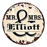 Cheap MR. & MRS. ELLIOTT Circle Sign Rustic Tin Chic Vintage Retro 11.75″ Metal Plate Store Home man cave Decor Funny Gift