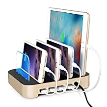 4 Ports USB Charging Station Universal Detachable Multi-port Desktop Charge Dock Stand Multiple Devices USB Charging Station Organizer Quick Charger for iPhone iPad Samsung LG Tablet PC (Gold)