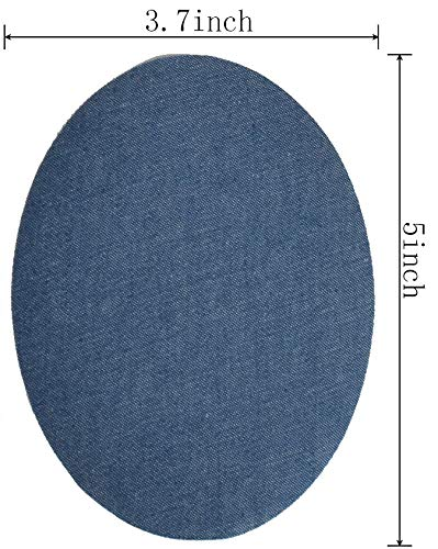 """Harsgs 12 Pieces Iron On Denim Patches Sewing Repair Patches Oval Iron on Inside & Outside for Clothing and DIY Repair 5""""× 3.7"""", 4 Colors"""