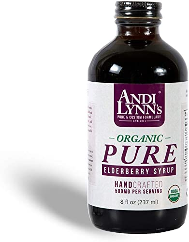 Andi Lynn s Pure Black Elderberry Syrup with Honey – Original Sambucus for Immune Support Fast Acting 500 mg per Serving, High Potency Therapeutic Immune Active Syrup, 8 Ounces
