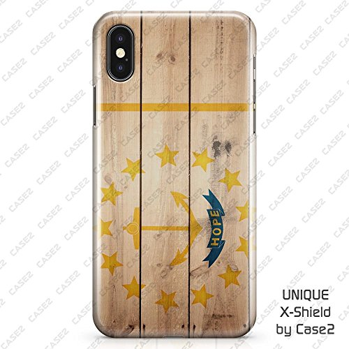 Rhode Island Wood Print American States Flag Hard Shell Case & Glass Screen Protector for iPhone X / - Fashion Store Map Island