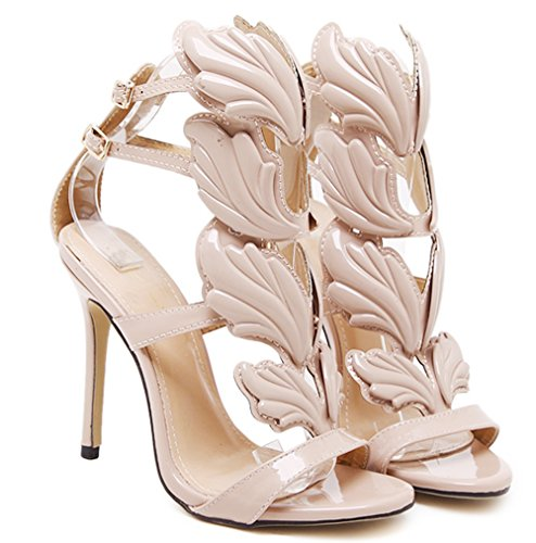 New Sexy Skin Leaf Flame Wings Buckle Strap Open Toe Part...