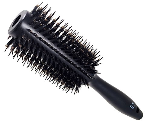 Double Bristle Wooden Round Brush by Better Beauty Products, 1.3 inch/33mm, Styling Hairbrush with Natural Soft Boar and Nylon Bristles, Professional Salon Brush, Black Wood Finish