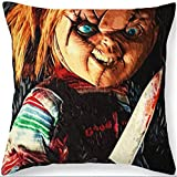 EC-Touch Terrible Pillow for Happy Halloween Horror House Decor Pillow Cushion Cover by, Horror Movie Murderer Terrible Expression of The Wounded Boy Flannel Square Pillow (Wounded Smile Knife Boy)