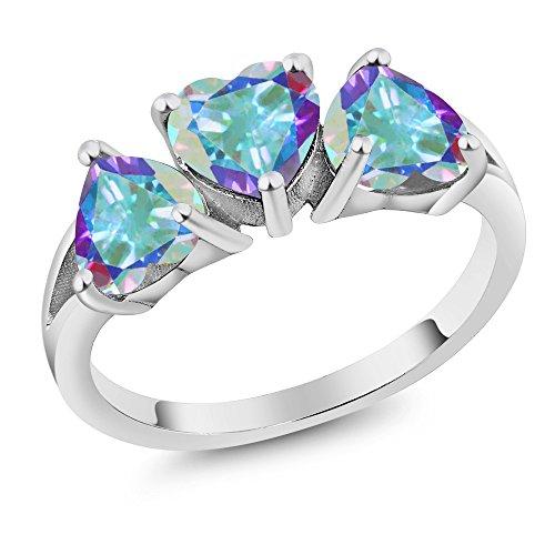 Gem Stone King 2.85 Ct Heart Shape Mercury Mist Mystic Topaz 925 Sterling Silver 3-Stone Ring (Size 7) (Mercury Mist)