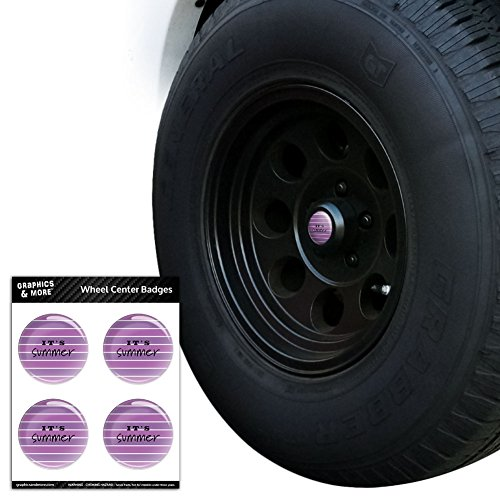 It's Summer Purple Stripes Tire Wheel Center Cap Resin-Topped Badges Stickers - 2.8