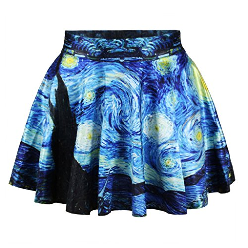 Famous Van Gogh Starry Night Skater Skirt Quiet Nights Mini Skirt for Women,Starry night,One Size